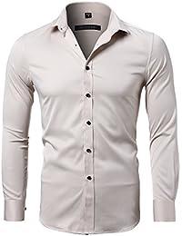 KelaSip Camisa para Hombres Transpirable Manga Larga Color Sólido para  Hombres Slim Fit Formales Casual Camisas… d42819a12f7