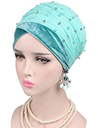 40be89199ad Bigood Ladies Pearl Muslim Indian Head Wrap Beanie Cap Turban Headwear
