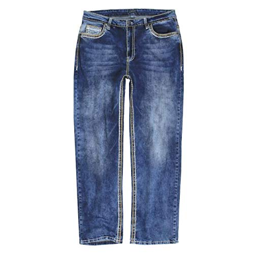 Lavecchia Herren Jeans Hose Übergrössen W40-W58 Größe W58/30, Farbe Blau (58x30 Jeans Herren Größe)