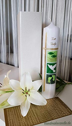 Taufkerze Mädchen Junge - in grün, Zubehör zum selbstbeschriften dabei. Verpackungskarton kann für die Aufbewahrung der Kerze später benutzt werden. Handarbeit.