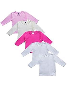 MEA BABY Unisex Baby Wickelshirt Wickeljacke Langarm, 100% Baumwolle im 5er Pack. Wickelshirt für Mädchen, Wickelshirt...
