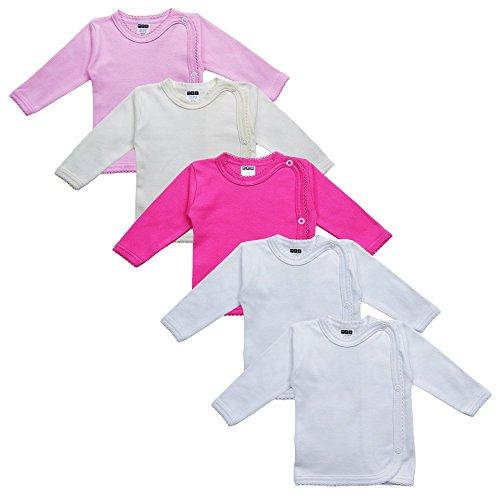 MEA BABY Unisex Baby Wickelshirt Wickeljacke Langarm, 100{ce5a2c7cf547b39fc0993ed77ce5c9acf4ba174d09c488261f34398a9387f53b} Baumwolle im 5er Pack. Wickelshirt für Mädchen, Wickelshirt für Junge (Mädchen, 56)