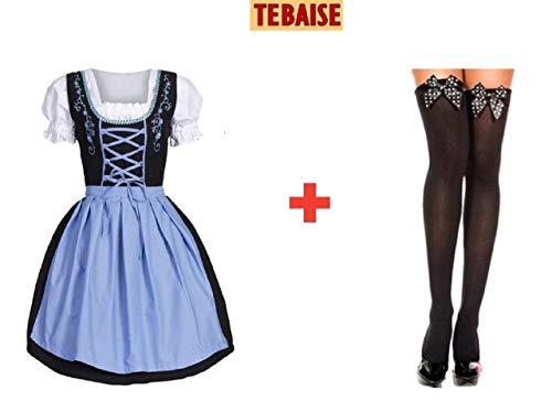 TEBAISE Oktoberfest Blau Trachtenkleid Dirndlbluse Schürze Dirndl Bluse Kleid丨3 Teiliges Trachtenkleid Set+mit Trachtenstrümpfe Bows Stockings Fancy Dress Costume Accessories(Blau,L)