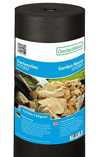 GardenMate 1mx75m 125g/m² Rotolo Telo per Pacciamatura di Orto Giardino e Aiuole Biodegradabile – Pacciamante Nero in Tessuto Non Tessuto Bio – Anti Erbacce – TNT Antivegetativo Traspirante