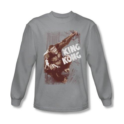 King Kong Seppia strappo, da uomo, maglietta a manica lunga, colore: argento