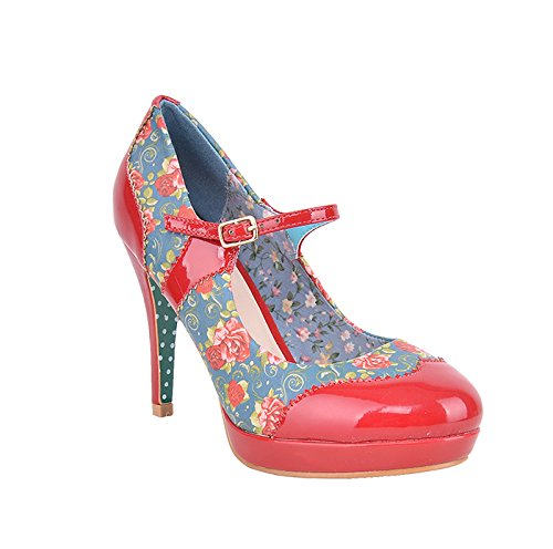 Banned-Mary Jane Roses Red correas rosas High Hells-Red Rockabilly, color Rojo, talla 40 UE
