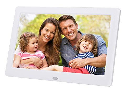 LONGSEA Digitaler Bilderrahmen Full HD 8 Zoll 1280x720 IPS Hochauflösender Foto Musik Video Player Elektronische Album mit Kalenderalarm Auto EIN/Aus Timer und Fernbedienung (Weiß) (White X-frame Schreibtisch)