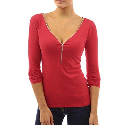 Elecenty Blusen Reizvolle Damen Bluse Langarmshirt Tiefer V-Ausschnitt Oberteile Frauen Reißverschluss Tops Frauen Blusenshirt Solide Damenmode T-Shirt Hemden Tops Hemd (M, Rot) (V-neck-pullover 3/4 Sleeve)