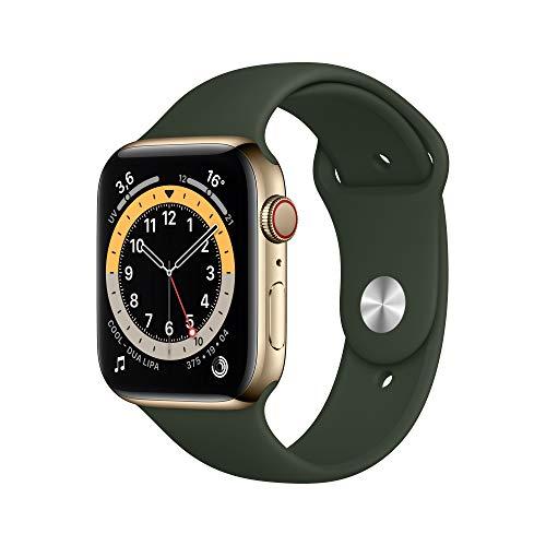 Oferta de AppleWatch Series6 (GPS+Cellular, 44 mm) Caja de Acero Inoxidable en Oro - Correa Deportiva Verde Chipre