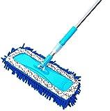 NAXIAOTIAO Zazzera Piatta per Mollette Casalinghe Pavimento in Legno Rimovibile Aspirapolvere Bagnato e Asciutto,Blue,37 * 14cm