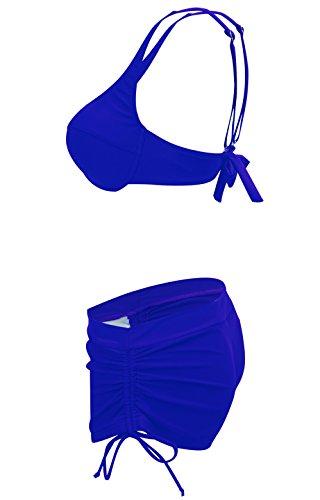 Ecute Damen Bikini mit Shorts Push Up Sexy Bademode Beachwear Badeanzug Blau