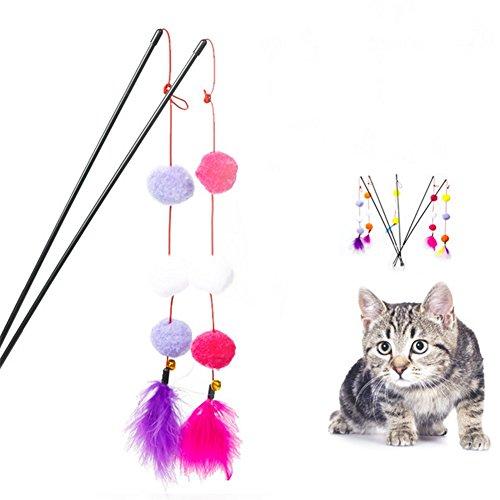 Weimay Juguete divertido de juguete varita de pluma gato Pole Teaser varita de gato con Pompon palos interactivos para gato Aleatorio Corol 5pcs