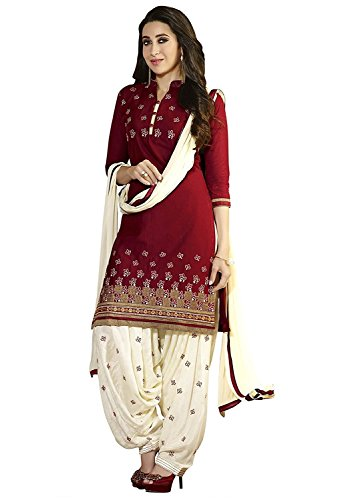 Platinum Women's Cotton Dress Material (1001 R_Free Size_Maroon) 1