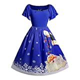 SEWORLD Weihnachtskatzen Damen Elegant Abendkleid Weihnachten Party Kleid Große Größe Bogen Weihnachtsmann Drucken Vintage Kleid(Blau,EU-50/CN-5XL)