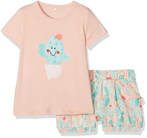 NAME IT Baby-Mädchen Bekleidungsset Nbfdelisa SS Top Shortset, Mehrfarbig (Peachy Keen), 68