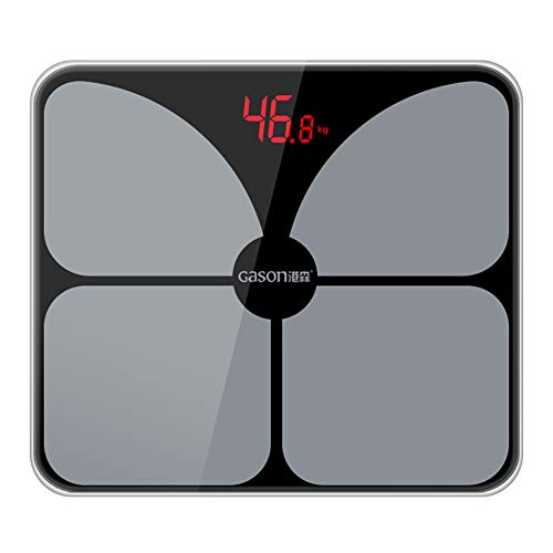jEZmiSy Digitale Personenwaagen, USB aufladbar LED Anzeige Elektronisch Rahmen Zuhause Fußboden Gewicht Balance, Fördern Sie EIN gesundes Leben und halten Sie Sich fit Black