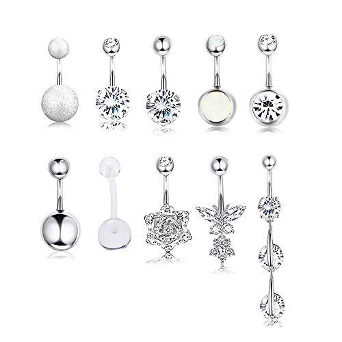 Yadoca 10 pezzi 14g anello dell'ombelico in acciaio inossidabile anelli a bottone bilanciere piercing gioielli del corpo per donne