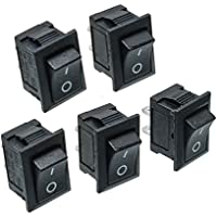 5Pcs Black Push Button Mini Switch 6A-10A 110V 250V KCD1-101 2Pin Snap-in On/Off Rocker Switch (Snap In Rocker Switch)