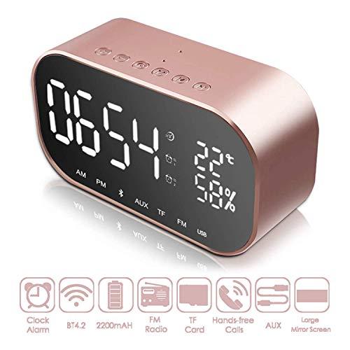 Digitaler Wecker, Radiowecker Bluetooth-Lautsprecher, Digitaluhren am Bett mit Thermometer, dimmbare LED-Anzeige, Dual-Alarm mit Schlummerfunktion, TF-Kartensteckplatz, USB-Ladeanschluss, FM-Radio -