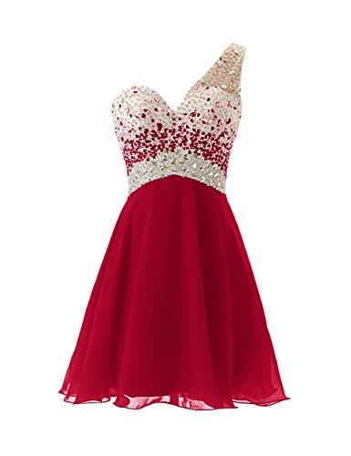 Dresstells Damen Kleider Asymmetrisch EinTräger Kurz Chiffon AbiBallkleid  Homecoming Dress Mit Strasssteinen Dunkelrot