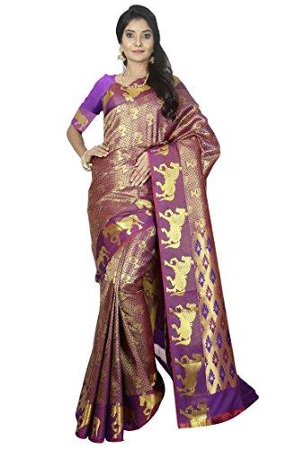 arars kanchipuram silk saree wedding/bridal collection With Blouse (229 PP MAGENTA)