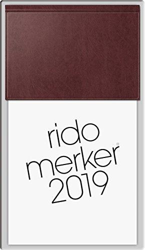 rido/idé 703500327 Tischkalender Merker, 1 Seite = 1 Tag, 108 x 201 mm, Miradur-Einband dunkelrot, Kalendarium 2019