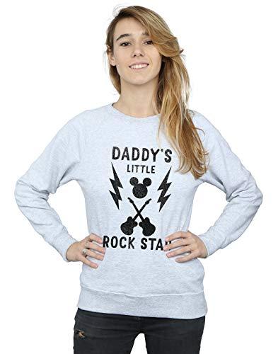 Disney Damen Mickey Mouse Daddy's Rock Star Sweatshirt X-Large Heather Grey