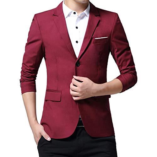 Xmiral Herren Anzüge Formal Geschäft Arbeitsplätze Blazer Umlegekragen Slim Fit Einfarbig Outwear mit Tasche Mantel Jacke (A Weinrot,S) -