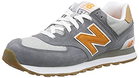New Balance Men's ML574 Low-Top Sneakers, Blue (Blue/Orange), 7
