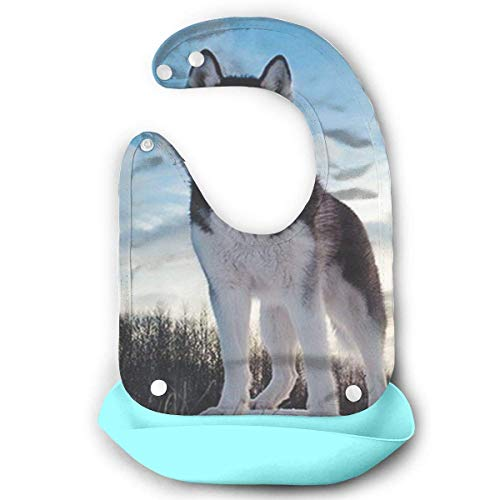 Husky Huskie Dogs Waterproof Silicone Baby Bibs Easily Wipes Clean Comfortable Soft Baby Bibs Keep Stains Off