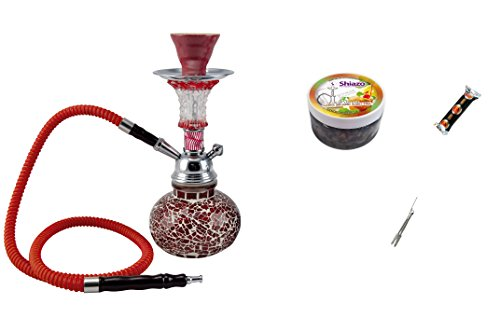 MYSALE24Mosaic Starter Set Water Pipe Shisha Hookah 1hose with Charcoal Steam Stones Nicotine-Free With Ideal for Travelling and Travel Shisha to go, Red