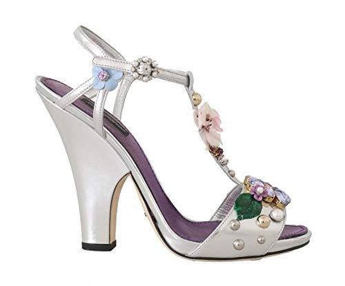 Dolce & Gabbana - Damen Sandalen - Silver Leather Crystal Floral Sandal - EU 39