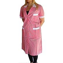 Bata de algodón con botones para asistentes de limpieza, conserjes, maestros, escuelas, guardería, laboratorios, para mujer, Blanco y rojo, 56
