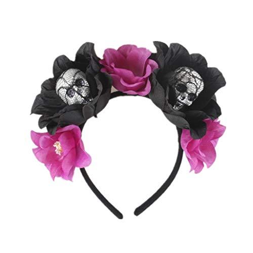 Der Lila Tag Kostüm Toten - jumpsuit bobo4818 Haarband Damen Vintage Tag Der Toten Stirnband KostüM Rose Flower Crown Mexikanische Kopfbedeckung Haarband Damen Blumen (Lila)
