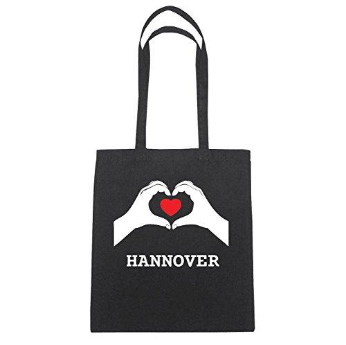 JOllify Hannover Borsa di cotone B711 schwarz: New York, London, Paris, Tokyo schwarz: Hände Herz