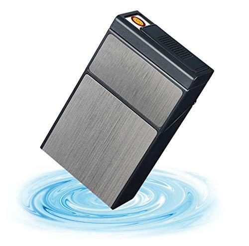 EEKUY Zigarettenetui wiederaufladbare USB Winddicht flammenlosen Zigarettenanzünder, kann 20 Zigaretten, Black