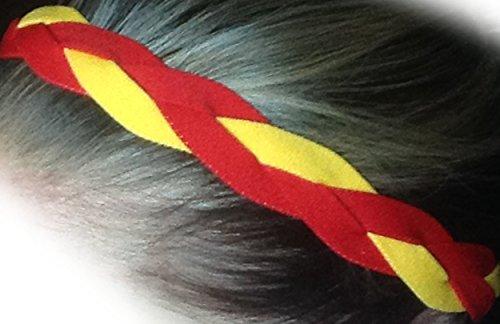 IT'S RIDIC! Damen Kein Beleg Grip/Non-Slip Sport/Sport Nylon Drei Geflochtene Sport Stirnband Einheitsgröße Red | Red | Gelb -