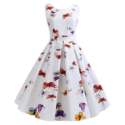 TEBAISE Elegant Kleider Damen Blumenmuster Drucken Kleid