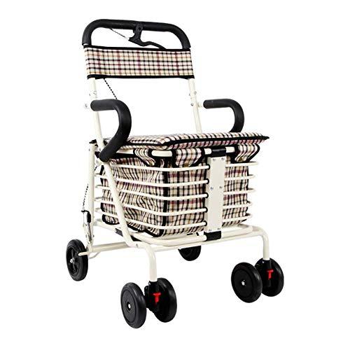KOSHSH Mobilitätshilfe Rad Rollator Walker Leichtbau-Warenkorb Transport Wagen Max Load 150 Kg,White,Doublewheel