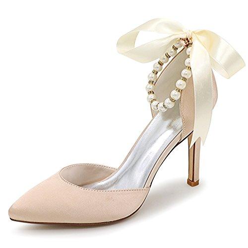 Elobaby Frauen Perle Hochzeit Schuhe Partei Plattform High Heels Handmade Spitzen / 5,5 cm Ferse Band, Champagne, 38