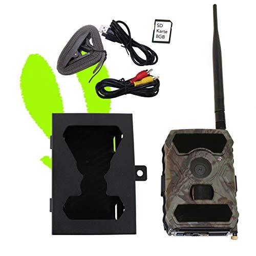 Optimus 3G Wildkamera GPRS/MMS mit Metallschutzgehäuse, SD Karte, Überwachungskamera