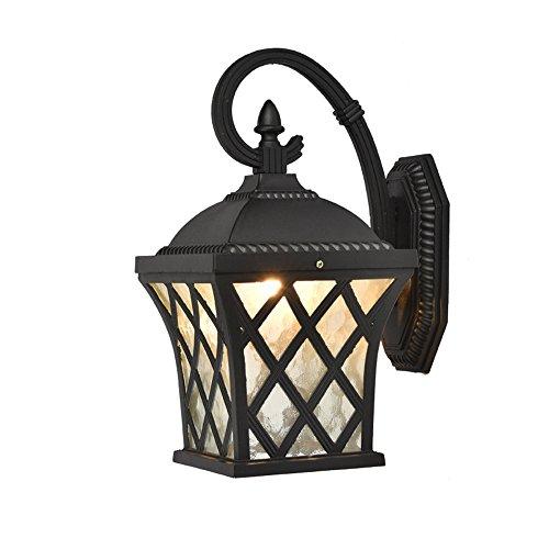 Zwei Wand-waschmaschinen-licht (CHEYAL European Retro Grid-Ähnliche Aluminium-Outdoor-Wasserdichte Wand Lampe; Luxus Villa Balcony Aisle Garden Doorpost Wand Lampe 4W * E27 (Zwei Farben Optional),B)