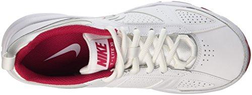Nike T-Lite Xi, Chaussures de sports extérieurs femme Blanc (White/Metallic Silver-Fchs Frc)