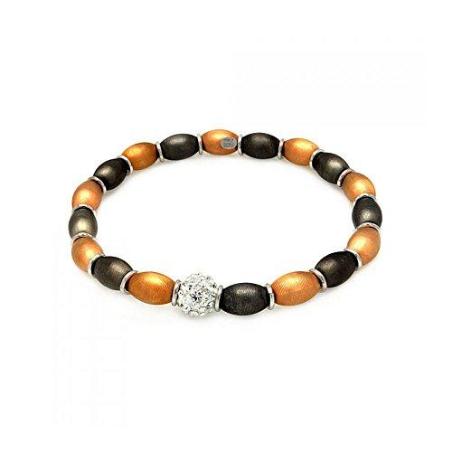 schwarze & Rose Gold & Rhodium beschichteter aus Sterling Silber Mittelstein Klare Zirkonia Italienische Perle Armkette (Cross Charm White 10k Gold)