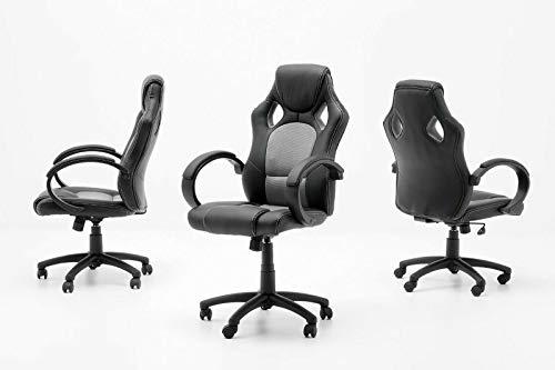 Chefsessel Ricky Schwarz Silber Büro Arbeitszimmer Bürostuhl Stuhl PVC Mesh