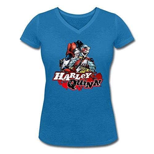 Suicide Squad Escadron Suicide Harley Quinn T-shirt col V Femme de Spreadshirt® bleu paon