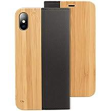 coque iphone x cuir bois