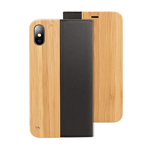 Nalia legno custodia a libro per iphone x xs, portafoglio sottile wallet wood cover flip-case protettiva ecopelle vegan fibre, protezione cellulare bumper per telefono apple ip-x xs, colore:bambù