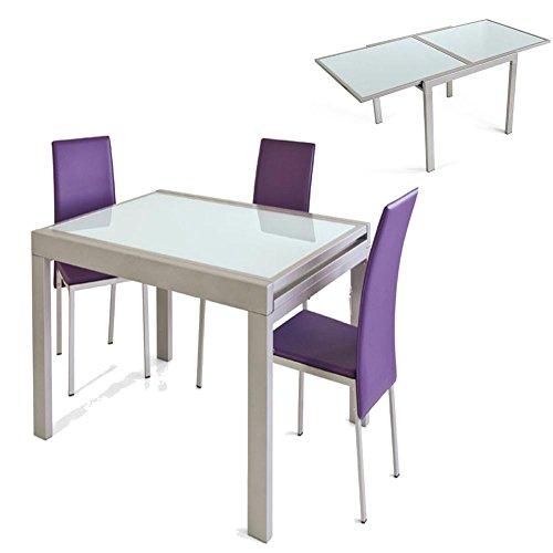 Vetrineinrete® Tavolo allungabile fino a 180 cm in metallo e vetro ...