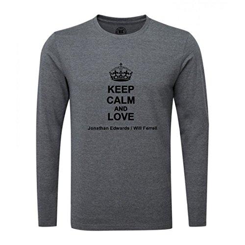 Keep Calm and Love Jonathan Edwards/Will Ferrell Luxury Slim Fit Long Sleeve Dark Grey T-Shirt